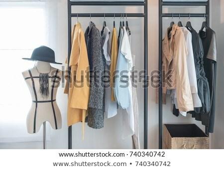 Kleding hanger rack schoenen dozen mannen Stockfoto © vectorikart