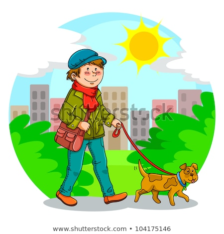 Teenage Boy Walking Dog on Leash in Park Vector Stock photo © robuart