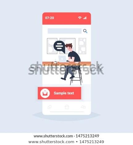 Freelancer communiceren computer cafe vector menselijke Stockfoto © robuart