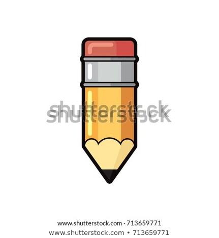 Fényes rajz citromsárga ceruza rózsaszín radír Stock fotó © evgeny89
