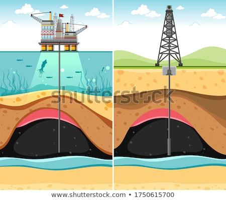 Bohren Ölquelle Land Meer U Öl Stock foto © bluering
