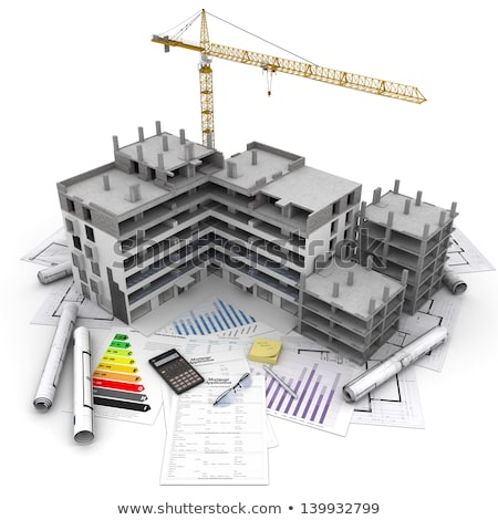 Calculation for the building project. 3d illustration. Stock photo © limbi007