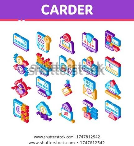 Hacker izometrikus elemek ikon szett vektor gyűjtemény Stock fotó © pikepicture