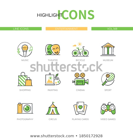 Circus - modern colorful line design style icons Stock photo © Decorwithme