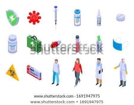 Influenza orvosi izometrikus ikon szett vektor láz Stock fotó © pikepicture