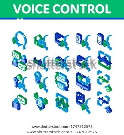 Portable humaine voix contrôle isométrique icône Photo stock © pikepicture
