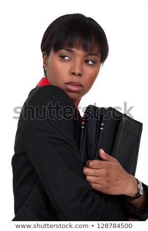 Nervioso mujer de negocios algo mujer fondo Foto stock © photography33