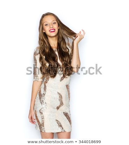 young beautiful woman with long gorgeous hair touching chick stock photo © rosipro
