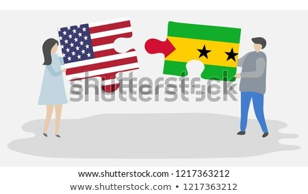 Stock photo: USA and Sao Tome and Principe Flags in puzzle