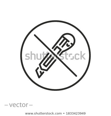 Papeterie couteau isolé blanche papier noir Photo stock © bendzhik