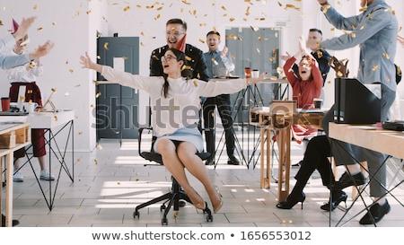 mooie · blonde · vrouw · geld · kantoor · portret - stockfoto © fuzzbones0