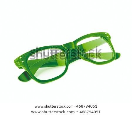 Stock fotó: Zöld · szemüveg · izolált · fehér · nők · orvosi