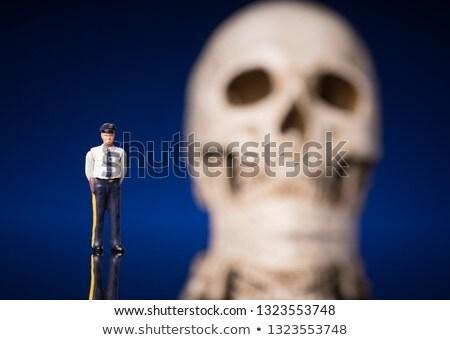 Polis kafatası yalıtılmış mavi siyah Stok fotoğraf © Klinker