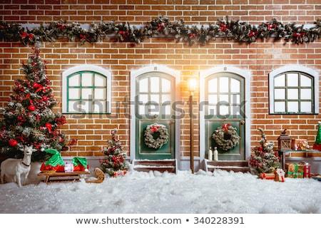Christmas śniegu biały cegły objętych świetle Zdjęcia stock © romvo