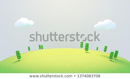Hierba verde pradera césped 3D nubes Foto stock © Wetzkaz