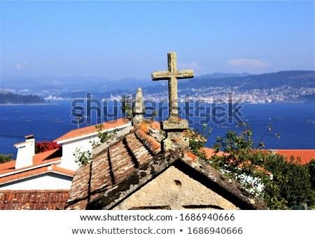 Kruis dorp galicië Spanje hemel straat Stockfoto © lunamarina