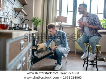 Giovane uomo posa bianco collage immagine Foto d'archivio © feedough