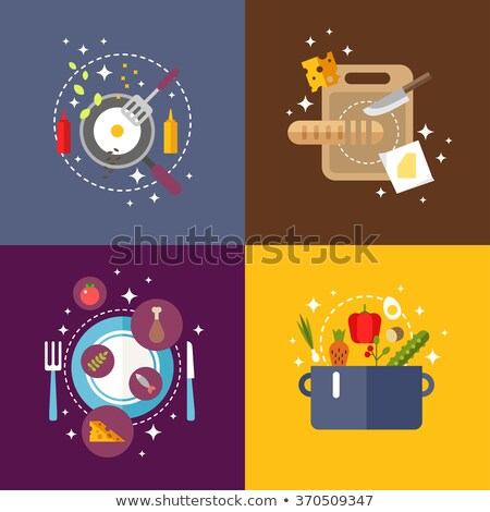 meat served on board icon set vector illustration stock photo © robuart