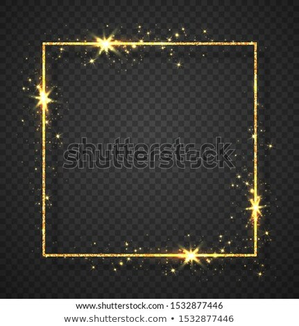 Gold shiny glitter glowing vintage frame with lights effects. Shining circle banner on black transpa Stock photo © olehsvetiukha