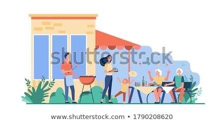 Partij grillen worstjes mensen Stockfoto © RAStudio