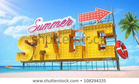 Yaz satış afiş neon alışveriş alışveriş Stok fotoğraf © balasoiu