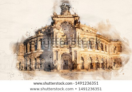 Watercolor Semperoper Dresden Stock photo © unkreatives