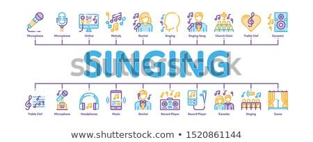 Cantando canción mínimo infografía banner vector Foto stock © pikepicture