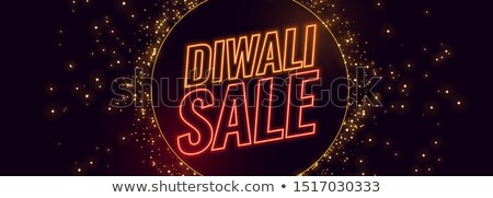 diwali sale banner in neon style with sparkle burst stock photo © sarts