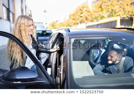 portret · rasowy · znajomych · posiedzenia · samochodu · szczęśliwy - zdjęcia stock © andreypopov