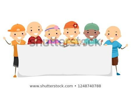 Stickman Kids Alopecia Banner Illustration Stock photo © lenm