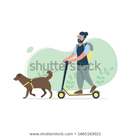 Fiatalember moped stílus illusztráció háló szalag Stock fotó © shai_halud