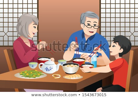 Chinois Kid manger grands-parents illustration alimentaire Photo stock © artisticco