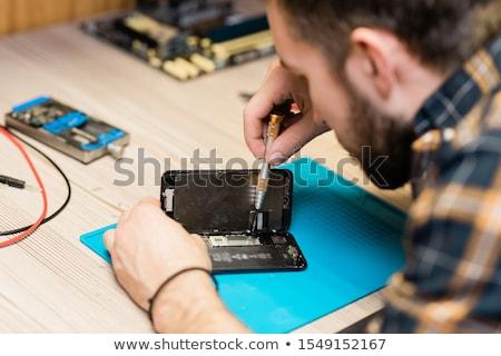 mester · villanyszerelő · dolgozik · ipari · épület · építkezés - stock fotó © pressmaster