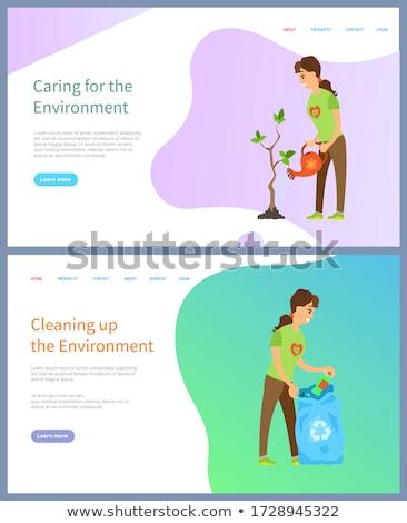 Ekosystem wsparcia wolontariusz kobieta drzewo wektora Zdjęcia stock © robuart