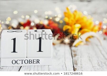 Cubos calendario rojo blanco icono mesa Foto stock © Oakozhan