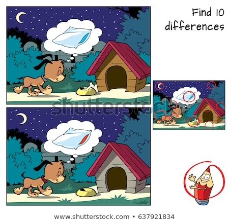 differences game with happy dogs animal characters stock photo © izakowski