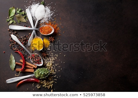 various spices spoons on stone table foto stock © karandaev
