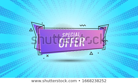 Discount banner shape. Special offer badge. Sale coupon bubble icon. Abstract blue sunbeams backgrou Stock photo © Designer_things