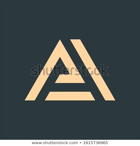 ラ 手紙 ロゴ 幾何学的な 三角形 矢印 ストックフォト © kyryloff