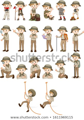 Set of boy in safari outfit doing different actions Stock photo © bluering