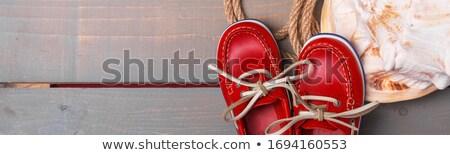 Afiş kırmızı tekne ayakkabı büyük kabuk Stok fotoğraf © Illia
