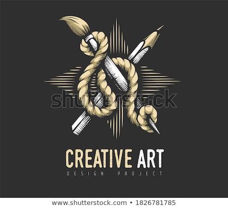 Creative Art concept. Heraldic emblem of pencil and brush rope Stock photo © LoopAll