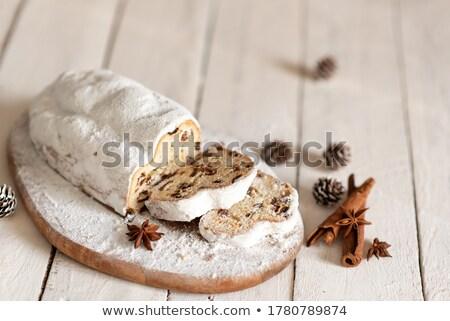 Sliced stollen, a traditional German fruit cake Stock photo © Melnyk