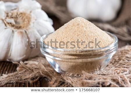 Knoblauch getrocknet Hintergrund Makro Gewürz natürlichen Stock foto © bdspn