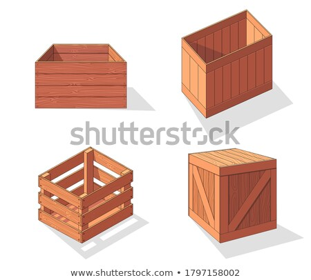 Wooden drawer. Box package. Container for delivery or shipping. Illustration isolated on white backg Stock photo © designer_things