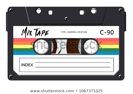 Realistic black audio cassette with magnetic tape, retro object isolated on white Stock photo © evgeny89