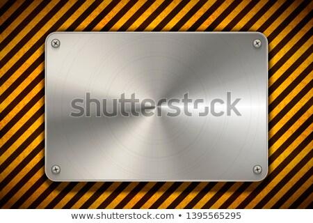 Waarschuwing Geel zwarte gepolijst metaal Stockfoto © evgeny89