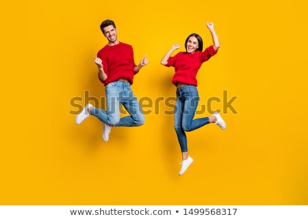 Two guys jumping on trampoline Stock photo © jossdiim