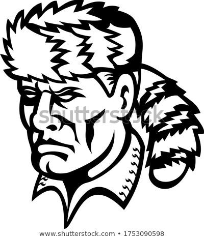 American Folk Hero and Frontiersman Davy Crockett Mascot Black and White Stock photo © patrimonio