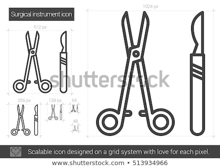 surgical scalpel and scissors icon vector outline illustration Stock photo © pikepicture